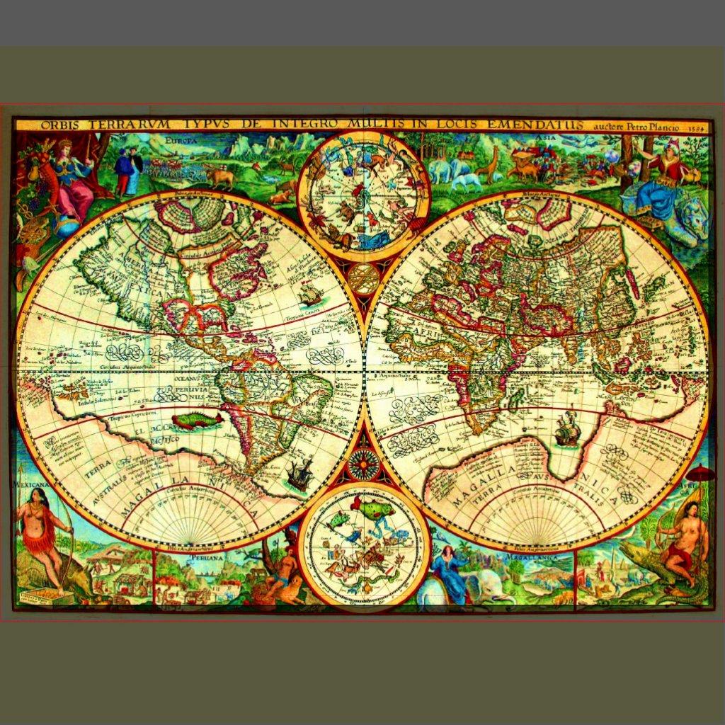 ヴィンテージの<b>1594年</b>の世界地図の配置 プレースマット | Zazzle
