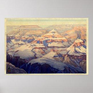 グランドの・のキャニオンのグランドキャニオン、吉田の木版画