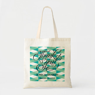 ティール(緑がかった色)のヘリンボン結婚式の引き出物のバッグ,