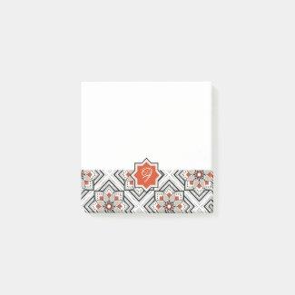 モロッカンに憧れるタイル柄・ブラック×オレンジ
