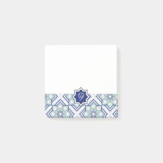 モロッカンに憧れるタイル柄・ブルー×イエローグリーン