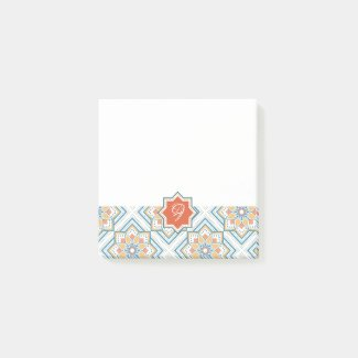 モロッカンに憧れるタイル柄・ブルー×オレンジ