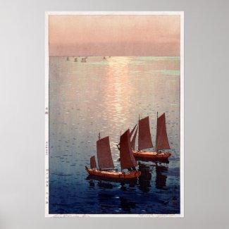 光る海のきらびやかな海、ひろし吉田の木版画