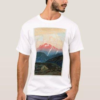 剣山の旭の山Tsurugi、ひろし吉田の木版画