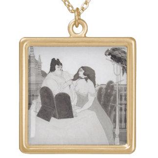 化粧台の女性(インクおよび洗浄) ゴールドプレートネックレス