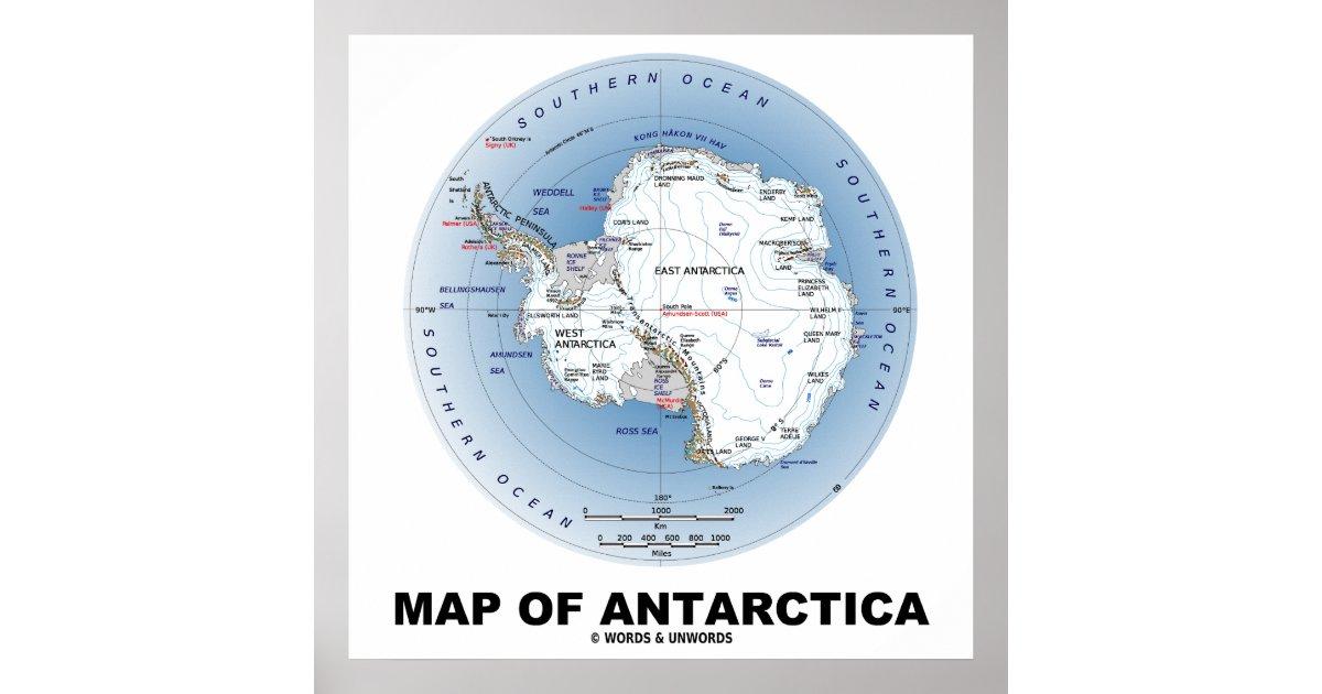 南極大陸(地理学)の地図 ポスタ...