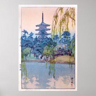 猿澤池のSarusawaの池、ひろし吉田の木版画