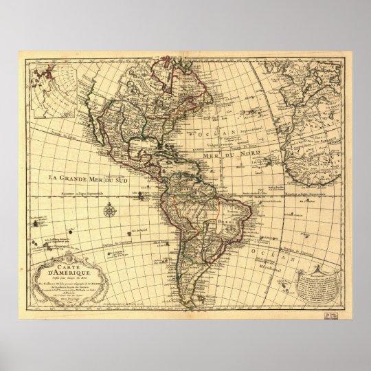 西半球の古い地図。 フランス語1...