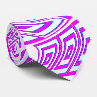 青い人ピンク、渦巻のファッションパターンタイ4白い カスタムタイ