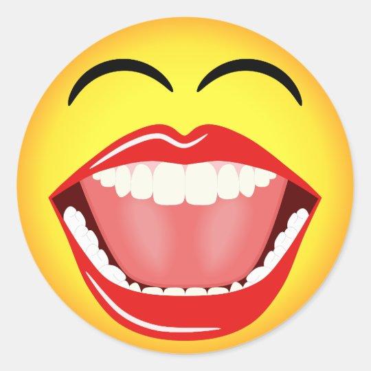 顔の黄色い笑う顔文字の円形のステッカー ラウンドシール Zazzle Co Jp