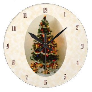ああ、クリスマスツリーの円形の柱時計 ラージ壁時計