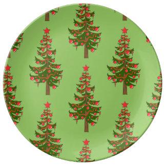 ああ、緑の磁器のクリスマスツリーパターン 磁器プレート
