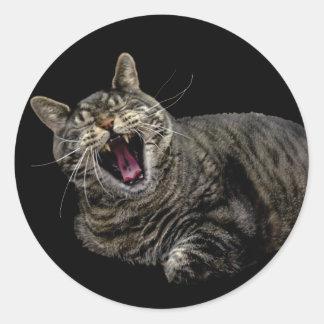 あくびをするPepe猫のステッカー ラウンドシール