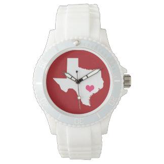 あずき色およびピンクのハートのテキサス州の故郷の州 腕時計