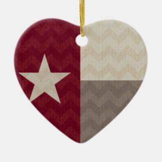 あずき色のテキサス州の旗の生地シェブロン セラミックオーナメント