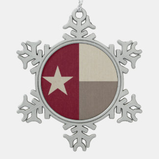 あずき色のテキサス州の旗の生地 スノーフレークピューターオーナメント