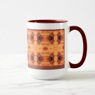 あずき色のトリムが付いている炉スクリーンの抽象芸術のマグ マグカップ