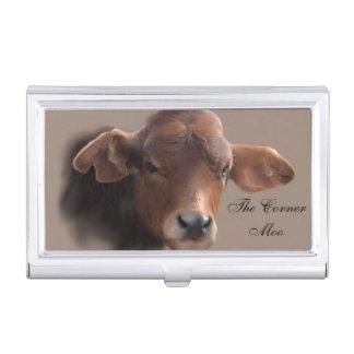 あずき色のブラウン牛ポートレート 名刺入れ