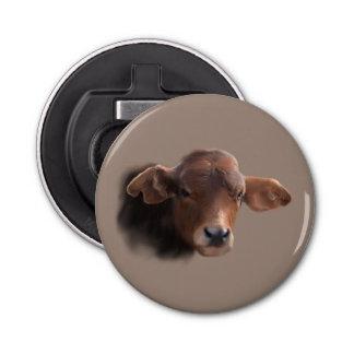 あずき色のブラウン牛ポートレート 栓抜き