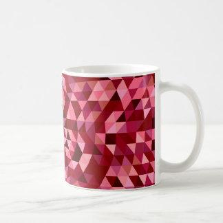 あずき色の円の三角形パターン コーヒーマグカップ
