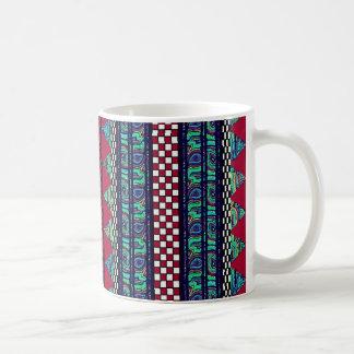 あずき色の孔雀のBohoの種族のストライプなパターン コーヒーマグカップ