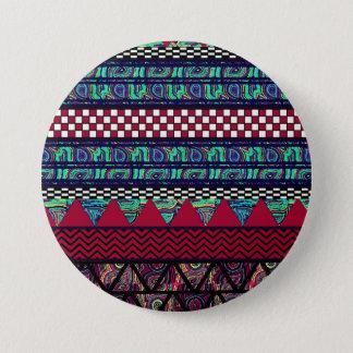 あずき色の孔雀のBohoの種族のストライプなパターン 缶バッジ