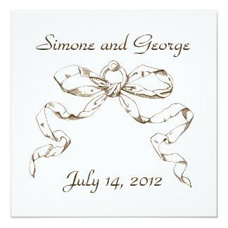 あずき色の弓スワッグの結婚式招待状 カード