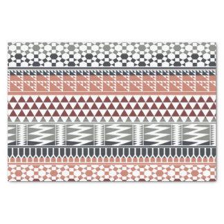 あずき色の灰色の幾何学的でアステカな種族のプリントパターン 薄葉紙
