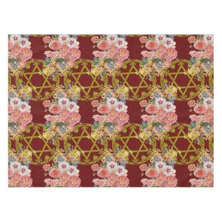 あずき色の花を持つ美しいダビデの星 テーブルクロス