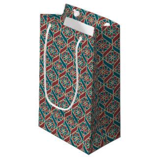 あずき色、ティール(緑がかった色)の民族パターン、花、シェブロン スモールペーパーバッグ