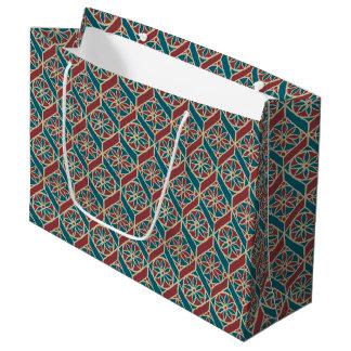 あずき色、ティール(緑がかった色)の民族パターン、花、シェブロン ラージペーパーバッグ