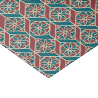 あずき色、ティール(緑がかった色)の民族パターン、花、シェブロン 薄葉紙