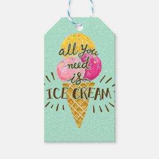 あなたが必要とするのはアイスクリームのタイポグラフィのヴィンテージの芸術だけです ギフトタグ