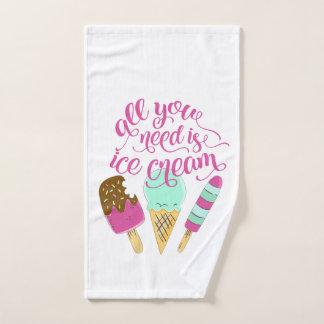 あなたが必要とするのはエレガントアイスクリームのタイポグラフィのピンクだけです ハンドタオル