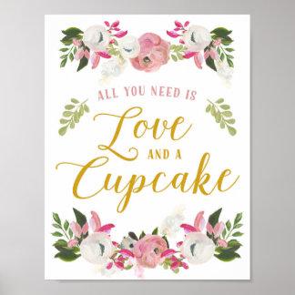 あなたが必要とするのは愛およびカップケーキの印だけです ポスター