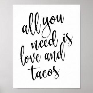 あなたが必要とするのは愛およびタコス8x10の結婚式の印だけです ポスター