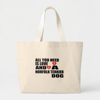 あなたが必要とするのは愛ノーフォークテリア犬のデザインだけです ラージトートバッグ