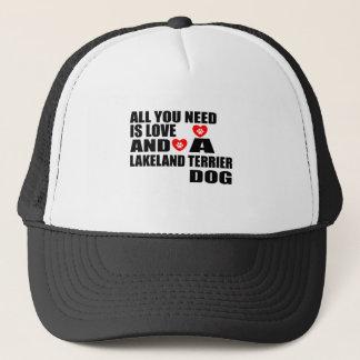 あなたが必要とするのは愛レークランドテリア犬のデザインだけです キャップ