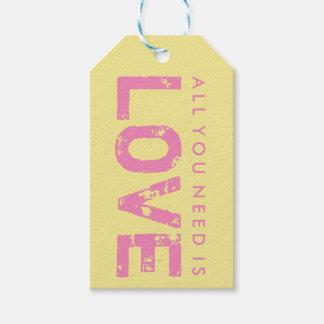 あなたが必要とするのは愛黄色いバレンタインデーのギフトのラベルだけです ギフトタグ