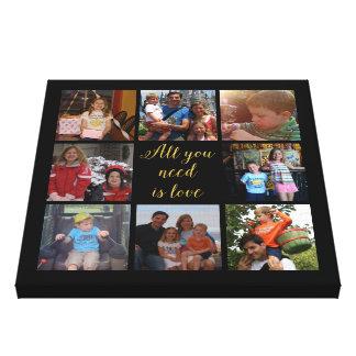"""あなたが必要とするカスタムな家族写真のコラージュは""""すべてです愛"""" キャンバスプリント"""