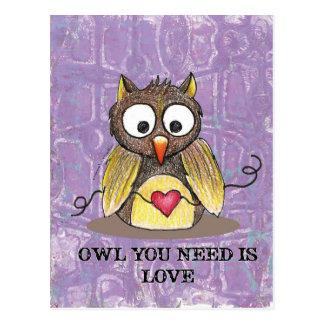 """""""あなたが必要とするフクロウ愛""""はフクロウの郵便はがき#2です ポストカード"""