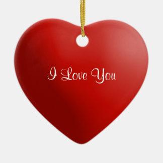 あなたが飾るバレンタインデーの赤いハートI愛 セラミックオーナメント