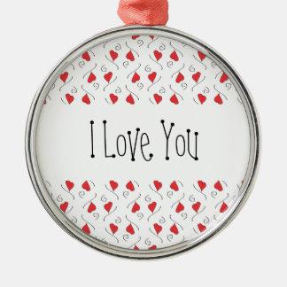 あなたが飾る赤い愛ハートおよび渦巻I愛 メタルオーナメント