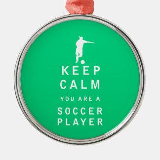あなたによってがサッカーの選手である平静を保って下さい メタルオーナメント