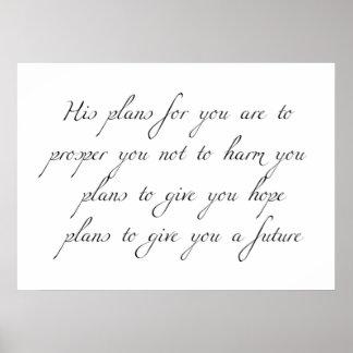 """""""あなたのための彼の計画""""写実的でミニマルなポスター ポスター"""