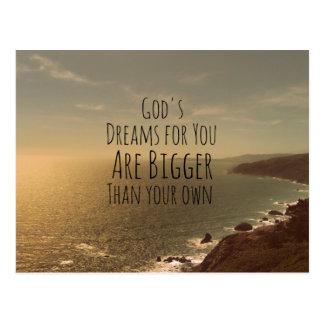 あなたのための感動的なキリスト教の引用文の神の夢 ポストカード