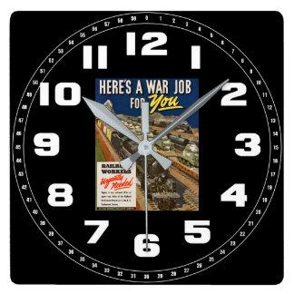 あなたのための戦争の仕事 スクエア壁時計
