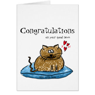 あなたのよいニュース猫のイラストレーションのお祝い カード