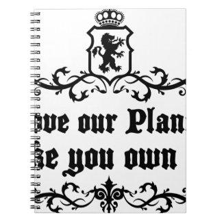 あなたのような私達の惑星を所有しますそれを中世引用文愛して下さい ノートブック