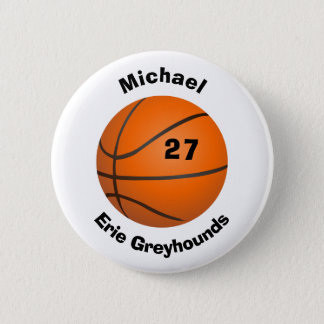 あなたのチーム色の名前入りなバスケットボールを選んで下さい 缶バッジ